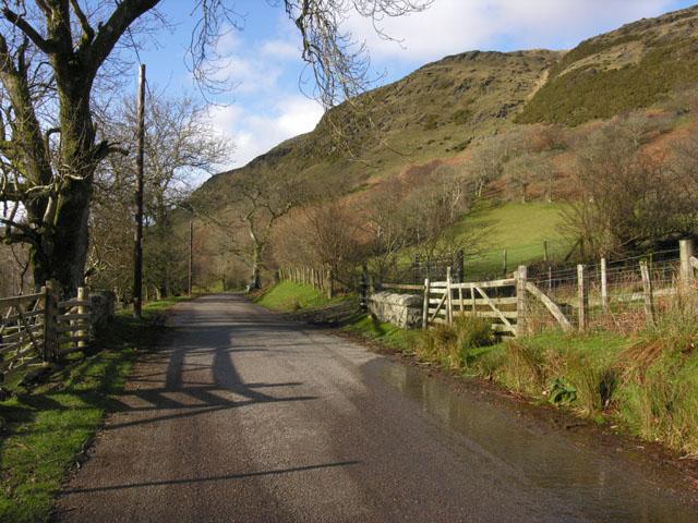 Minor road up the Claerwen valley