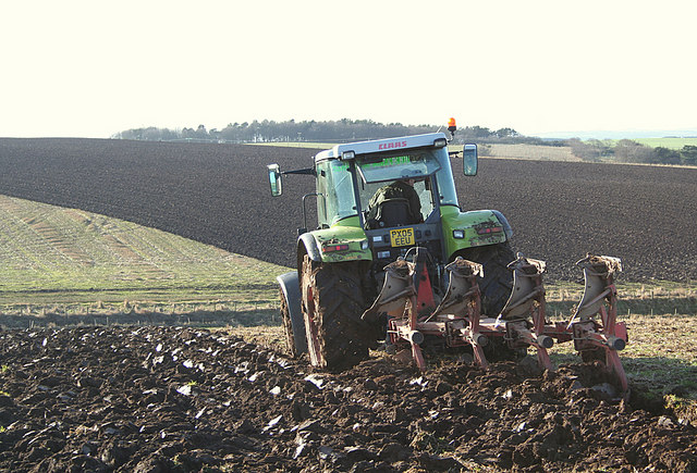 The five share plough in action