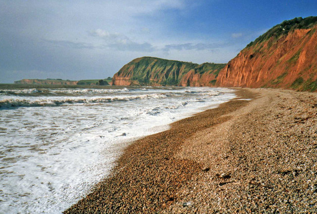 Sidmouth beach looking west