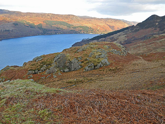 Moorland, bog and crags to the south of Loch Earn