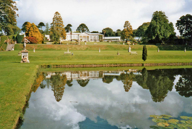 Lake with reflection at Bicton Garden, Devon