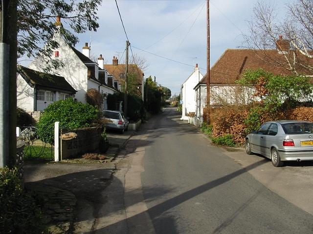 Looking NW along The Street, Finglesham