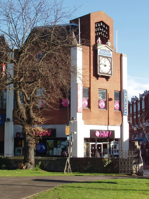 Arcadia Centre with animated clock