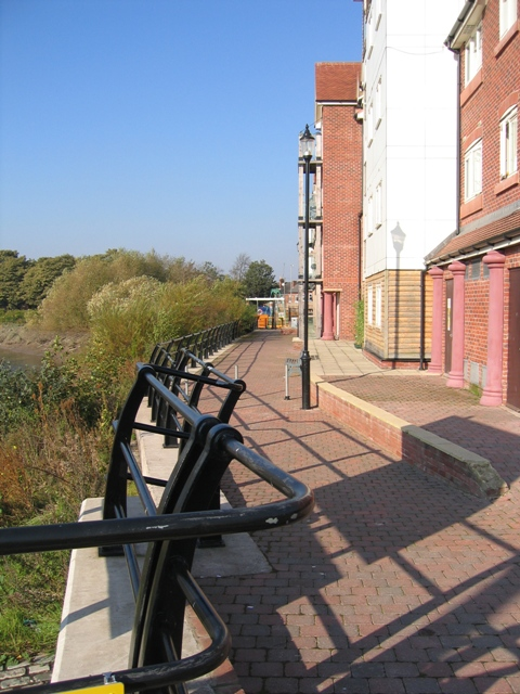 The Wharf development and Riverwall Path