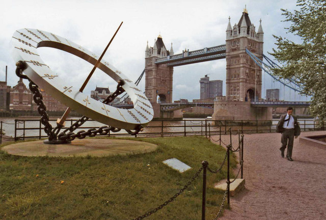 Sundial with Tower Bridge, London