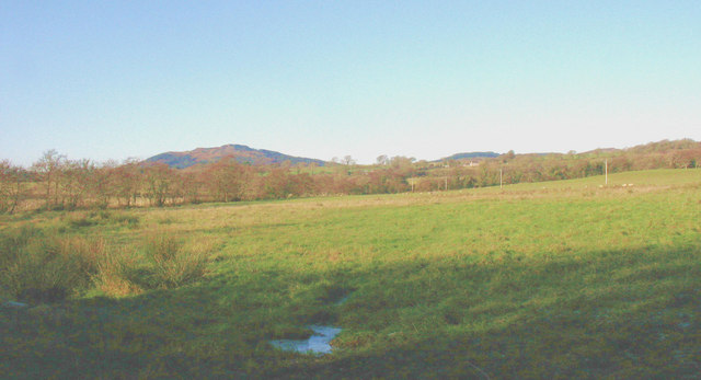 View northwards across pasture land towards Boduan
