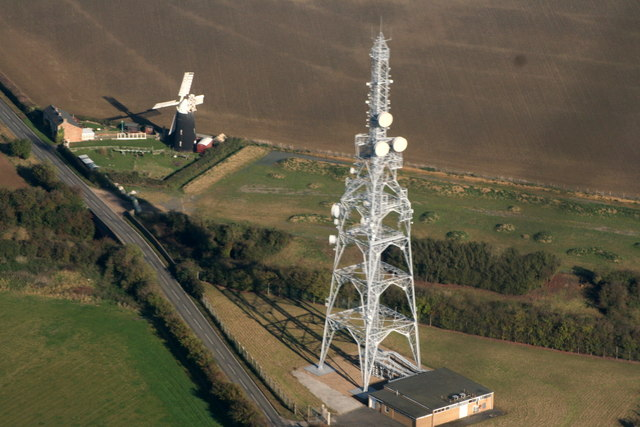 Transmitter and windmill at Over