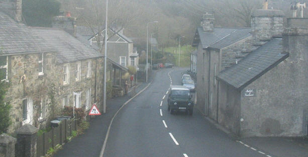 The A487 at the village of Penmorfa