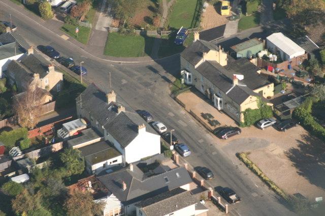 Aerial view of Longstanton Road, Oakington