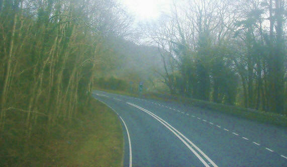 A bend in the A487 on the outskirts of Penmorfa