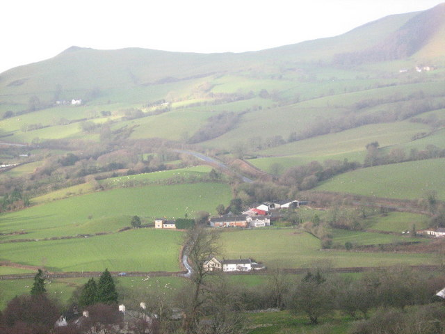 Four Crosses and Ty-isaf from the slopes of Bryn Alyn