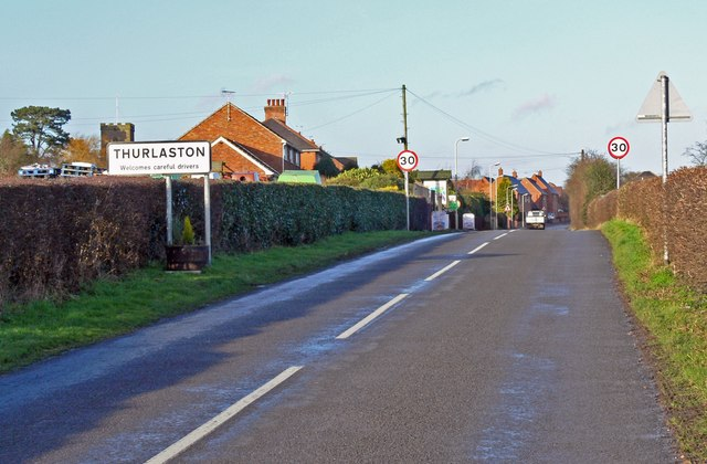 Croft Road enters Thurlaston