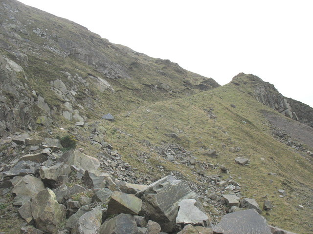 Exit roadway at the disused Carreg y Llam Granite Quarry