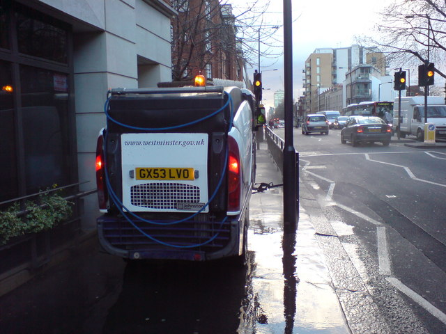 Pavement Cleaning, Vauxhall Bridge Road, SW1