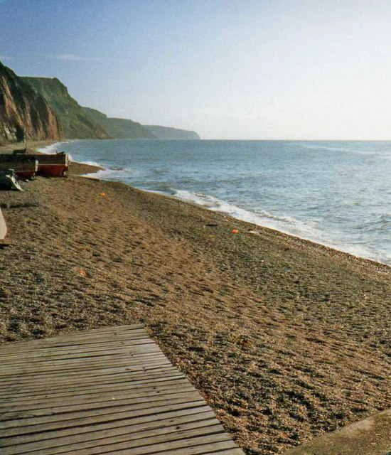 Sidmouth shingle beach near Mouth of River Sid, looking east