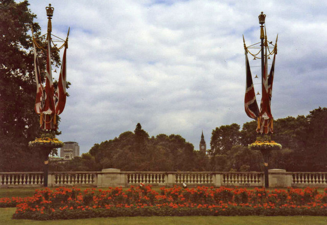 Flowerbed and Flagpoles near Buckingham Palace, London SW1