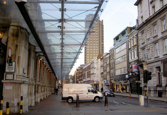 Glazed canopy to Smithfield Market fronting Long Lane