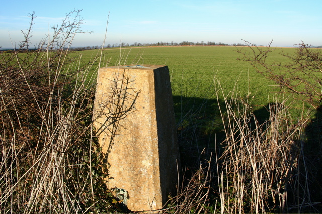 Trig point and field boundaries