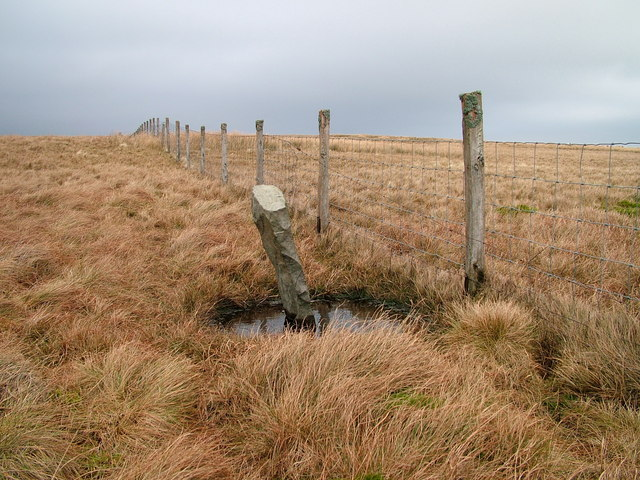 Boundary stone and fence on White Brow