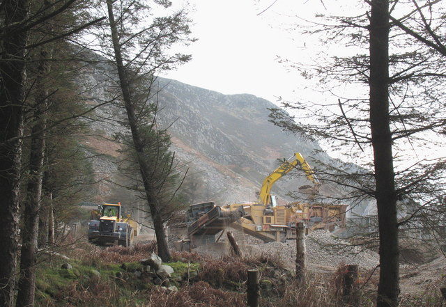 Heavy plant in operation on the Nant Gwrtheyrn road construction scheme