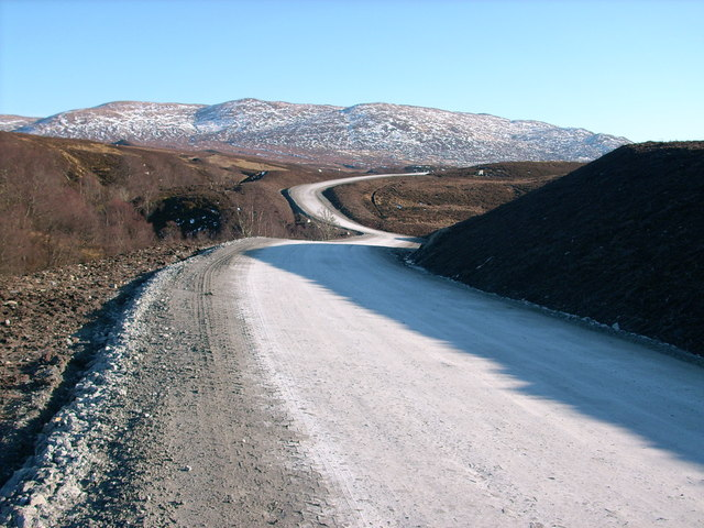 Construction road, with Carn a' Chuilinn in distance