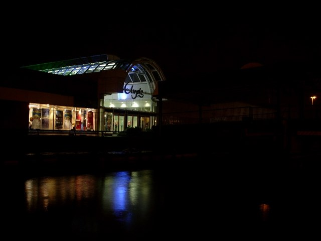 Clyde Shopping Centre entrance at night