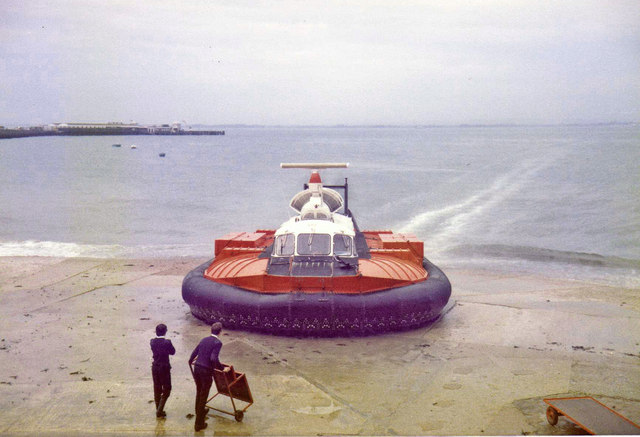 Hovercraft landing at Ryde, Isle of Wight - 1980