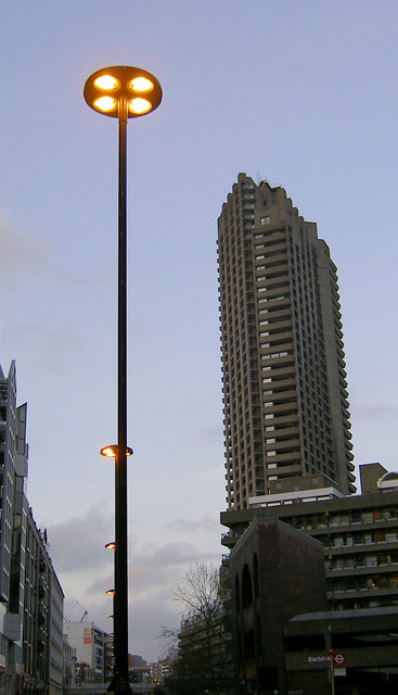 Lamppost and Tower block at the Barbican centre