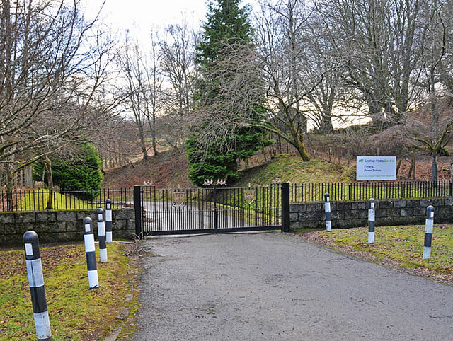 Entrance gates to Finlarig power station