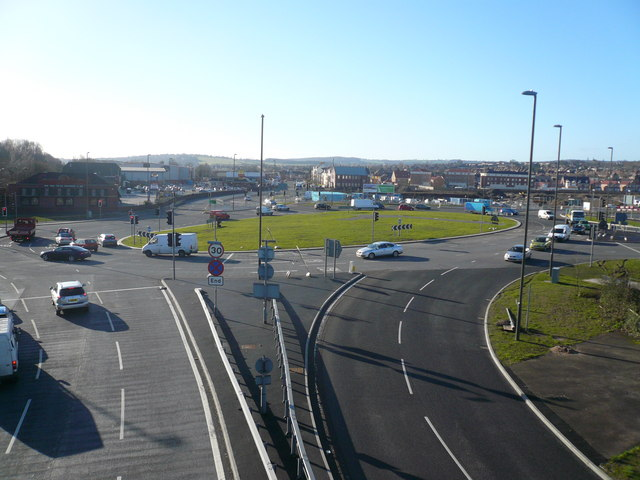 Horn's Bridge Roundabout - View towards Derby Road