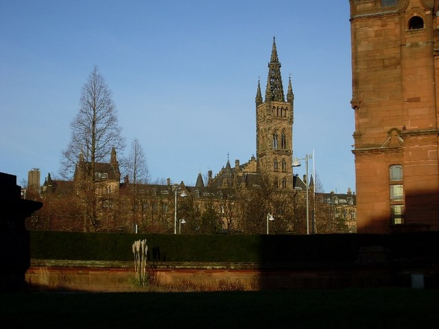 Glasgow University Old Building from the side of the Kelvingrove Art Gallery