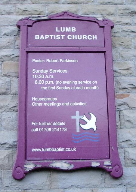 Lumb Baptist Church, Sign