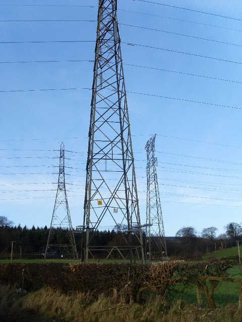Pylons in field by Cochno Road