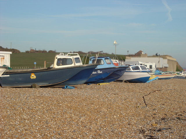Boats on the seashore, Bexhill-on-Sea