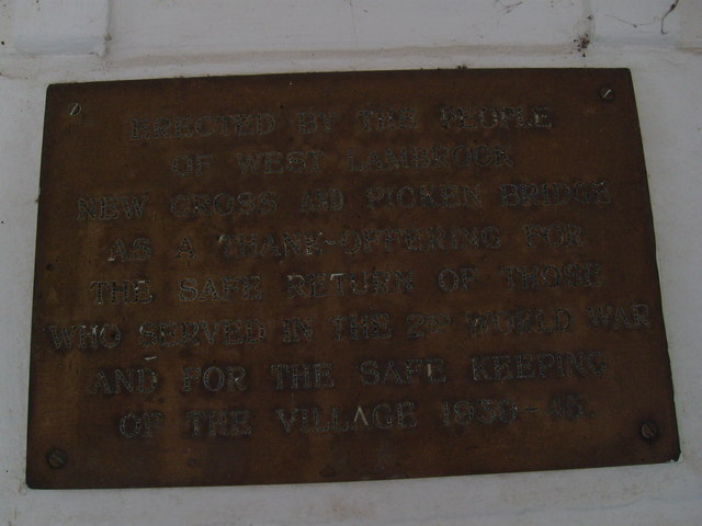 Memorial Plaque in the Bus Shelter at West Lambrook