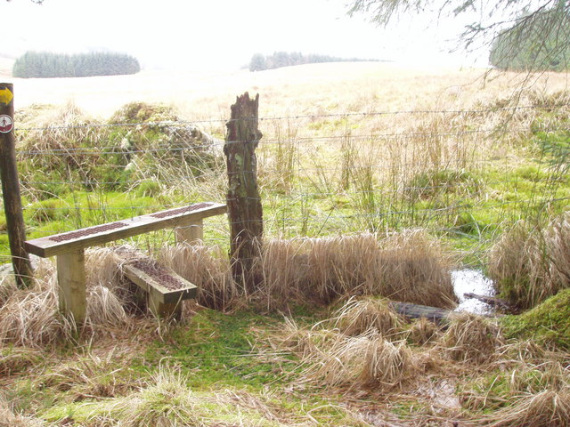 Stile out of wood leading to sheep pasture