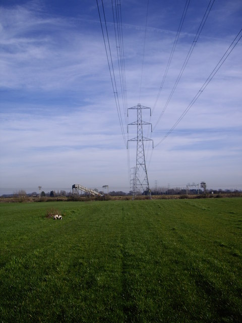 Footpath and Power lines crossing railway