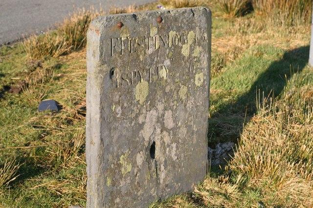 Milestone on the Gwynedd/Conwy border