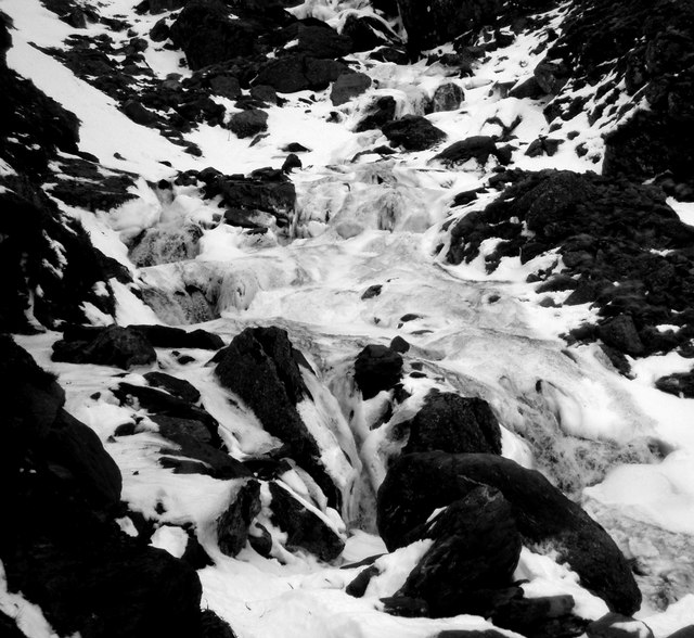 Ice and water at the foot of the falls