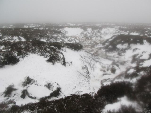 Frozen peat haggs on Middlehope Moor