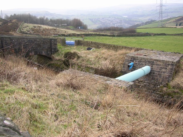 Pipe over the catchwater channel, Rishworth
