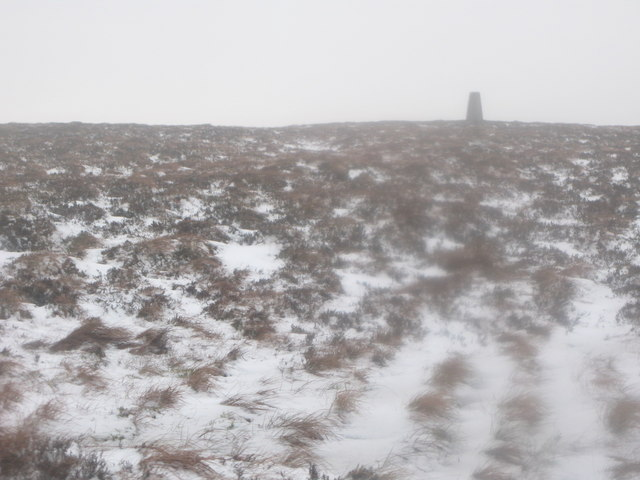 The trig point on Hill 607, Middlehope Moor