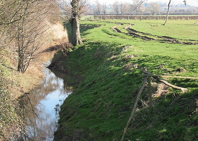 Deep furrows by a ditch