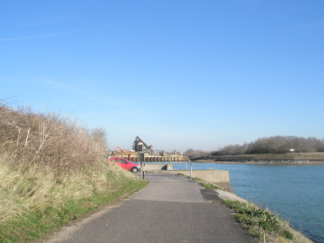 Looking from path towards the Dredging Depot