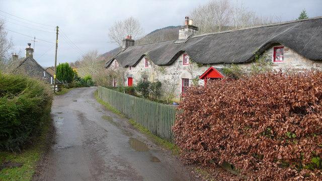 Thatched farm cottages