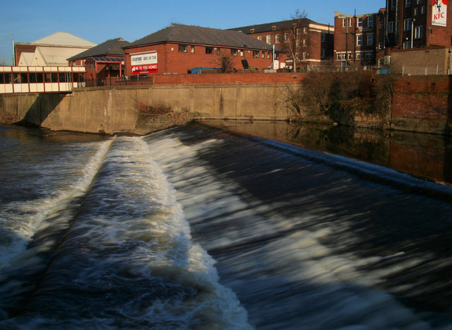 Rotherham town centre weir on the River Don