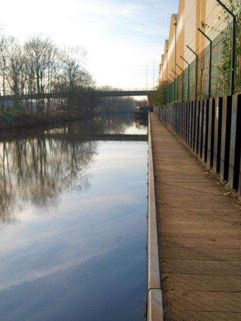 Cantilevered boardwalk over the South Yorkshire Navigation (canal)