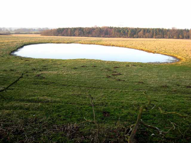 Dew pond near Penny Hill farm