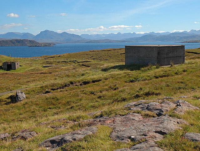 Blockhouses at Cove, Loch Ewe behind