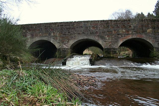 Fish ladder below bridge over Burn of Monquhitter